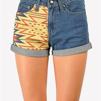 Tobi Tribal Denim Short - Blue