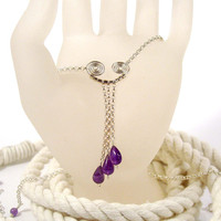 Sterling Silver Necklace with Three Amethyst Drops and Spiral Focal