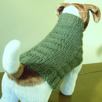 Dog Sweater Hand Knit Woven Rib Green Heather Medium by jenya2