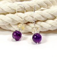 Amethyst and Citrine Small Drop Earrings, Sterling Silver