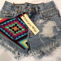 High waisted destroyed denim shorts super frayed by jeansgonewild