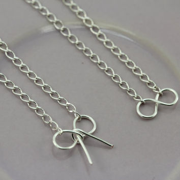 Infinity and Bow Necklace :: Tiny Silver Plated Infinity Symbol Necklace