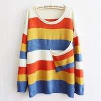 Knit stripe pocket loose sweater 32