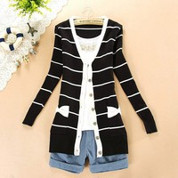 2013 spring Korean style stripe bow pocket long sleeve cardigan 29