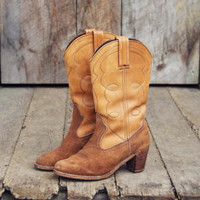 Vintage Suede Cowboy Boots, Sweet Country Inspired Vintage Clothing