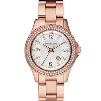Michael Kors Mini-Size Rose Golden Stainless Steel Madison Chronograph Glitz Watch - Michael Kors