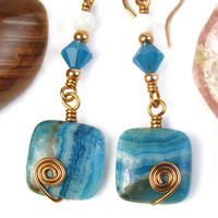 Turquoise Gemstone Earrings Copper Spirals Swarovski Crystals Handmade