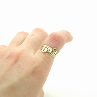 Initial Stack Ring - Custom 3 Initials , Personalized Hand Stamped Letters Brass Disc Stacking Rings - Set of 5 - Mother&#x27;s Day