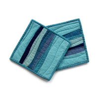 Modern Pot Holders, Blue Potholders, Modern Hotpads (set of 2), Teal Trivet