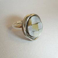 Wire Wrapped Mother Of Pearl Ring