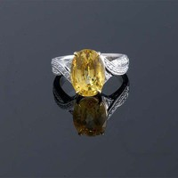 Oval Yellow Sapphire and Diamond Ring ~ M.S. Rau Antiques