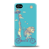 iPhone 4 Case, Lion, Giraffe, Bicycle iPhone Case, Cute Case, Hard Plastic, Blue Case