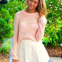 Light Pink Chunky Knit Sweater with Round Neckline