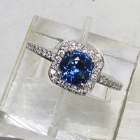 RESERVED Final Installment Blue Sapphire in 14k Gold Diamond Halo Gemstone Jewelry September Birthstone