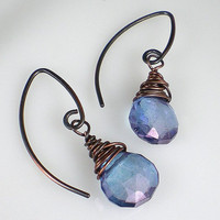 Blue Quartz Earrings Antiqued Copper Wire Wrapped by milminedesign
