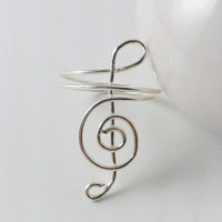 Treble Clef Ring Silver Wire Wrapped Music by TheSilverFindings