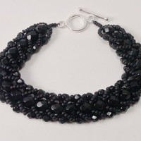 Black Flat Spiral Stitched Bracelet with by TheSilverFindings