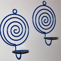 Fun &amp; Funky Blue Swirl Wall Sconce Candle by AquaXpressions