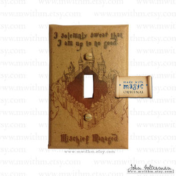Marauder's Map Harry Potter Inspired Switch Plate by mwithm