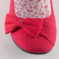 Bow Ballet Flats - Red from Basics at Lucky 21 Lucky 21