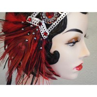 Lady Is A Vamp - Bejeweled Peacock Feather Flapper Headband in Ruby Red, Black and Silver
