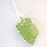 Yellow Green Sea Glass Pendant Necklace Wire Wrapped in Silver
