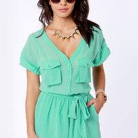 Surfing Safari Mint Green Romper