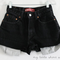 High Waisted Black Denim Levi's Shorts S by MyLittleShortShop