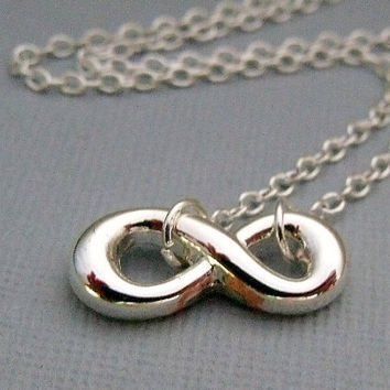 Silver Infinity Charm Necklace by pinkingedgedesigns on Etsy