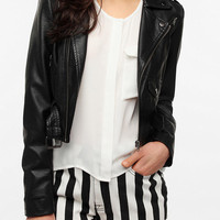 Urban Outfitters - Sparkle & Fade Cropped Faux Leather Moto Jacket