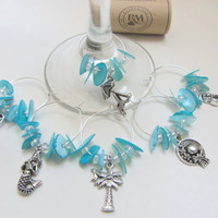 Beach Wine Charms -  Day at the beach theme
