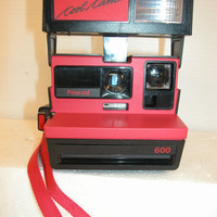 Vintage Polaroid Cool Cam (RED) 600 Instant film camera with strap, clean