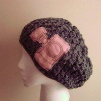 Gray Camera Beanie Slouchy Crochet Hat