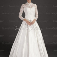 Find affordable A-line High Neck Satin Lace Floor-length Ivory Buttons Wedding Dress