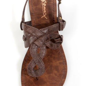 GoMax Berdine 80 Brown Loopy Thong Sandals