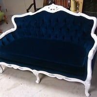 Blue Velvet Loveseat - Navy Blue White Frame Sofa Settee Couch