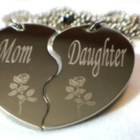 Personalized Mother and Daughter Split Heart Dogtag Necklace W/chain and Giftbox