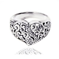 Chuvora 925 Sterling Silver Oxidized Detailed Filigree Heart,Unique and Charming Ring for Women - Nickle Free