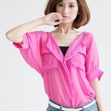 Red Bat Sleeve Chiffon Shirt$49