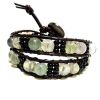 Double Wrap Bracelet with Black Toho Beads and Fluorite Gemstones