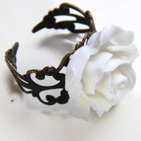 Adjustable White Rose Filigree Ring, Bridesmaid Ring, Ladies Vintage Look  Fashion Ring, Floral Ring