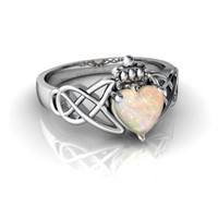 14K White Gold Heart Genuine Opal Celtic Claddagh Knot Ring