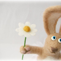 Needle Felted  Spring Easter bunny with a chamomile in by katuasha