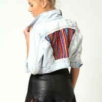 Lavine Crop Denim Jacket With Aztec Detail
