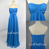 Strapless Sweetheart Long Blue Chiffon Prom Dress, Bridesmaid Dress, Evening Dress