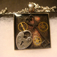 Steampunk Pendant Necklace with a Heart Lock, Key and Gears (996)