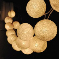 20 White Tone Handmade Cotton Balls Fairy String Lights