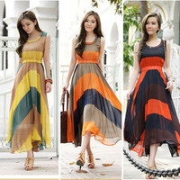 3 Colors Women Celebrit Pleated Bohemian Striped Summer Long Sun Dress