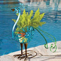 Filigree Bird Planter, Peacock Planter, Metal Filigree Planter | Solutions