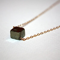 cubus - pyrite necklace by lilla stjarna - 14k gold - gifts under 50 - geometric jewelry in statement nugget design